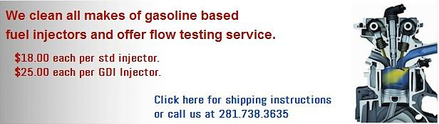 Ultrasonic Fuel injector cleaning and flow testing services