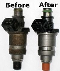 Fuel injector cleaning a before and after